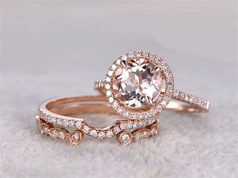 3pcs morganite rose gold wedding diamond eternity ring 8mm art deco stacking