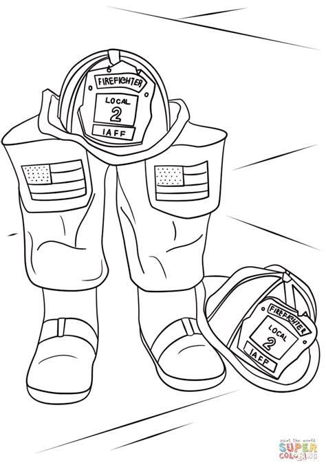 firefighter helmet  boots coloring page