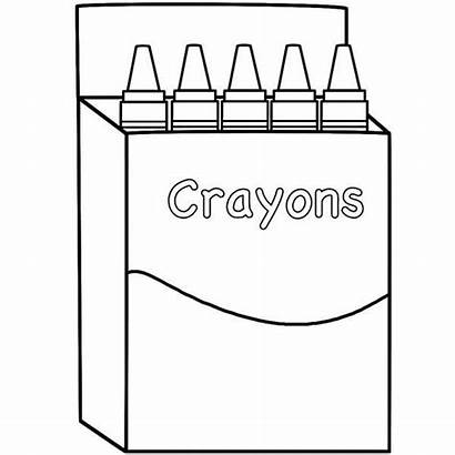 Crayons Box Coloring Clipart Pages Crayon Empty