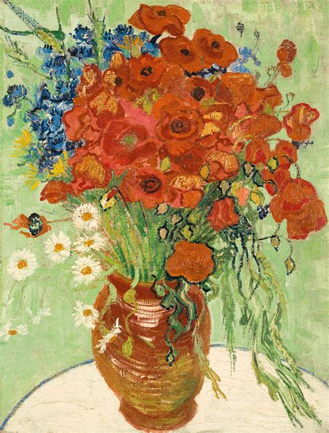 Vase With Poppies Vincent Gogh by Still Vase With Daisies And Poppies Painting By