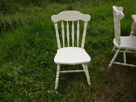 Antique Pine Farmhouse Table and 4 Chairs Painted Vintage