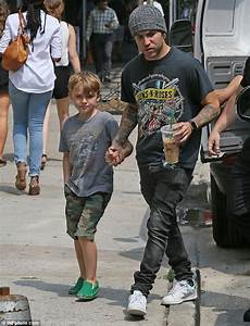 Pete Wentz with his two boys and girlfriend Meagan Camper ...