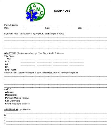 soap note template   word  documents