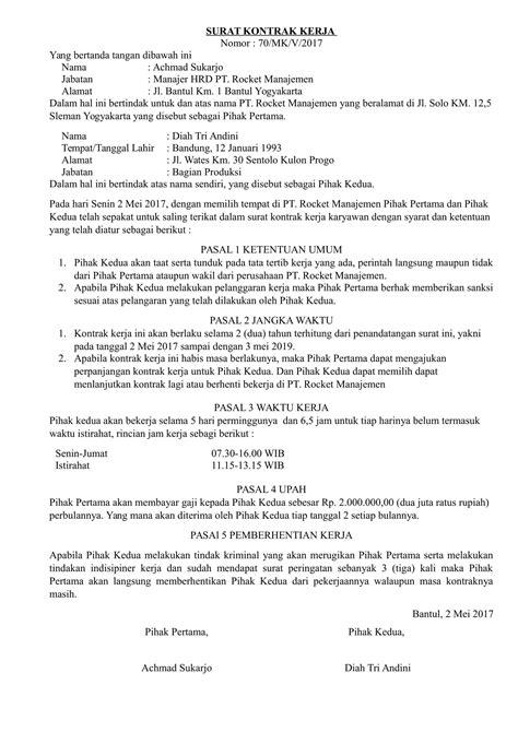 contoh invoice kontrak kerja contoh