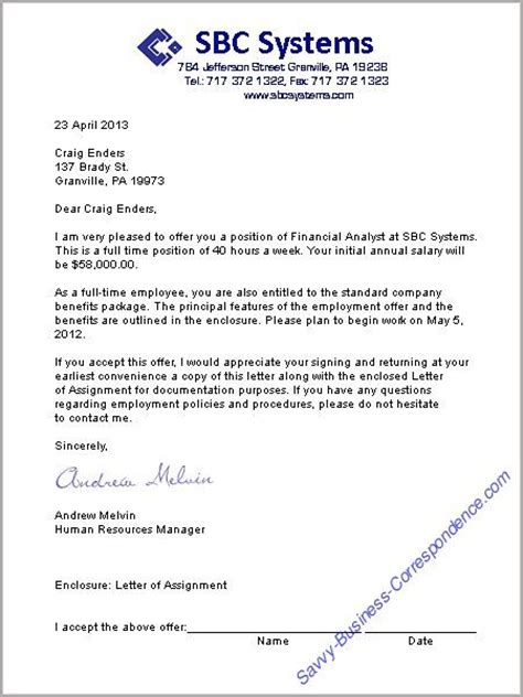 a offer letter format business letters
