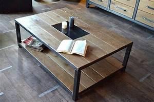 Table Basse Bois Industriel : table basse bois et acier micheli design ~ Teatrodelosmanantiales.com Idées de Décoration