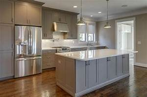 gray kitchen cabinets with white countertops - Kitchen and