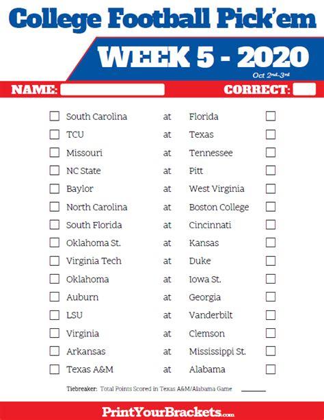 Printable Week 5 College Football Pick'em Sheets - 2020