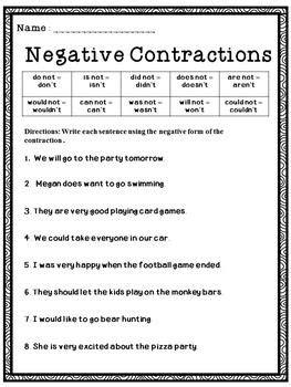contractions worksheets  improving  grammar