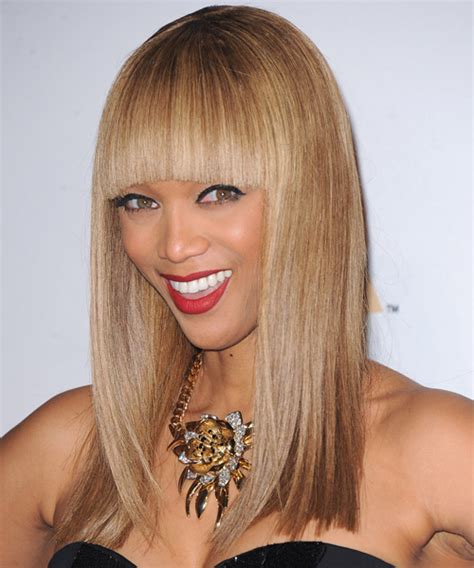 tyra banks long straight formal hairstyle  blunt cut
