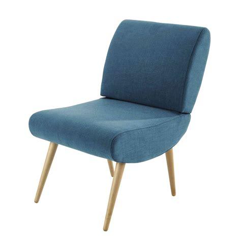 fauteuil vintage en tissu bleu canard cosmos maisons du