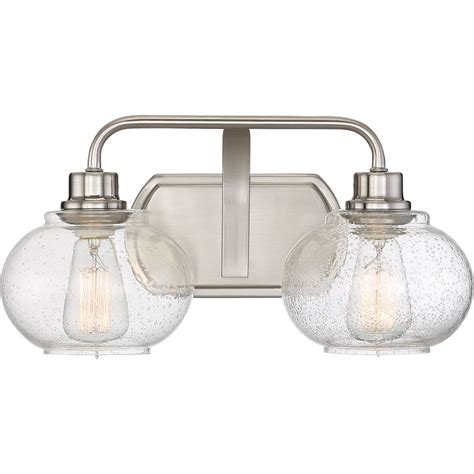 Bathroom Lights Brushed Nickel by Seeded Glass Bathroom Light Brushed Nickel Quoizel