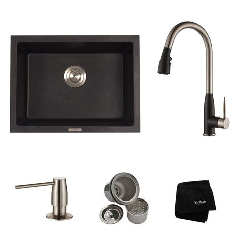 black kitchen sink faucets kraus all in one dual mount granite composite 24 in