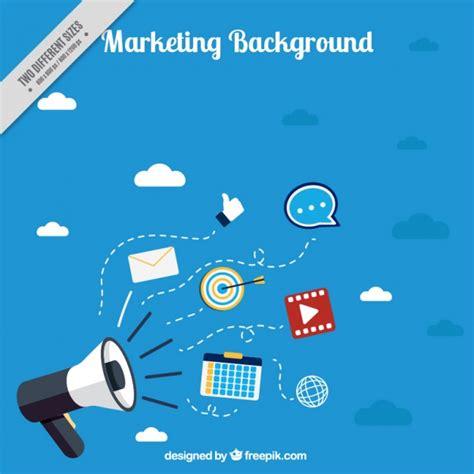 Marketing Background Blue Marketing Background With Megaphone Vector Free