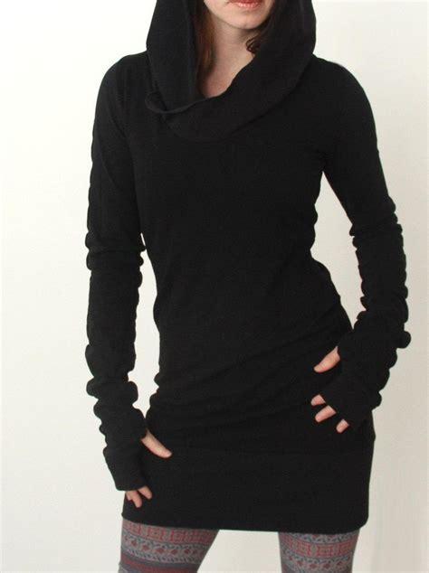 autumn winter hooded sweater dress long sleeve pockets