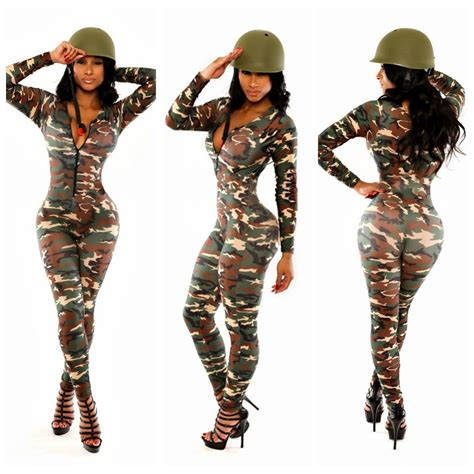 camouflage jumpsuit fashion camouflage printing bodycon