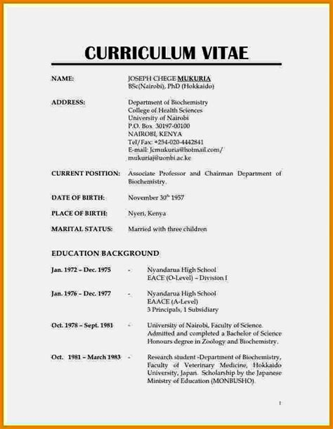exle of normal cv format resume template cover letter