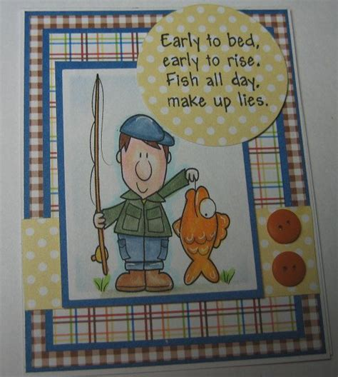happy fishing fun verse handmade card