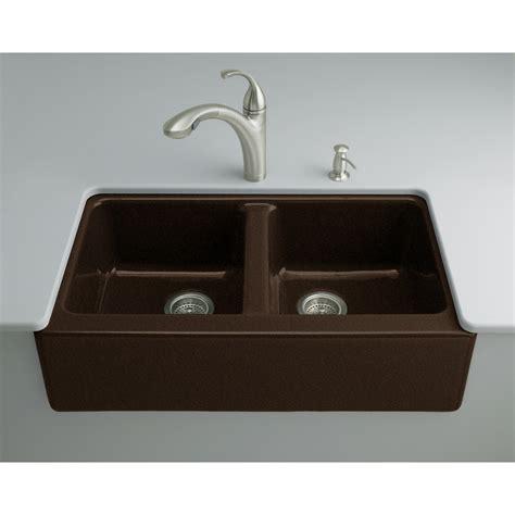 cast iron kitchen sinks shop kohler hawthorne 22 125 in x 33 in black n 5134