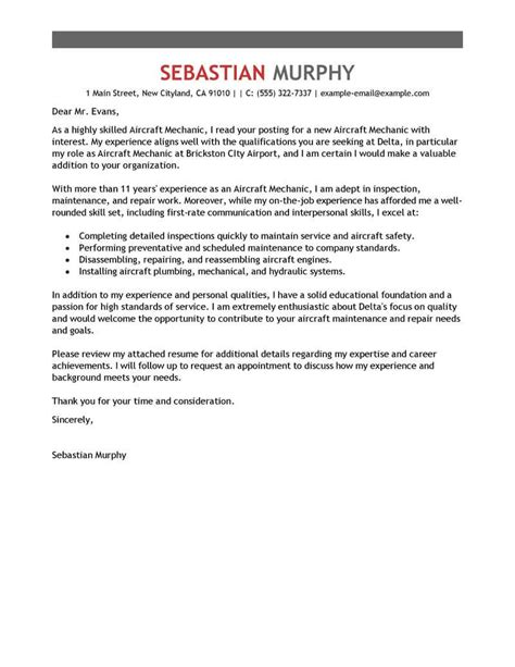Cover Letter For Maintenance Mechanic Position by Best Aircraft Mechanic Cover Letter Exles Livecareer