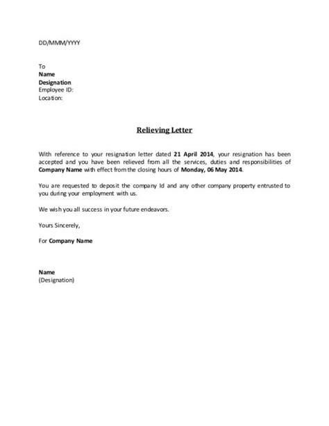 employee resignation letter template business