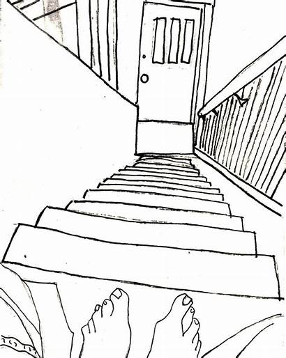 Stairs Drawing Perspective Line Staircase Point Contour
