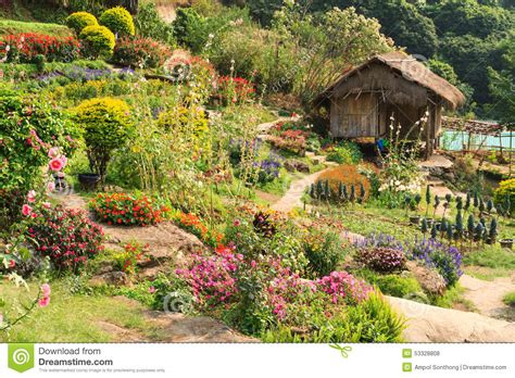 Cottage Bamboo And Flower Garden Stock Photo  Image 53328808