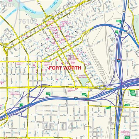 fort worth texas wall map