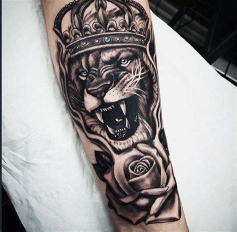 tattoo trends guys rose flower  lion  crown