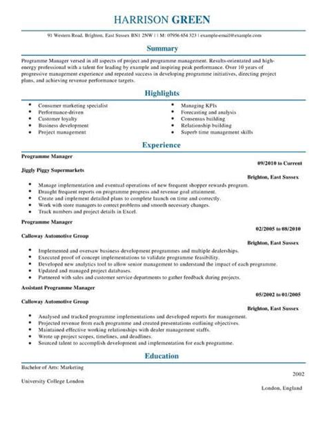 Can I Lie On My Cv by Management Cv Templates Cv Sles Exles