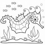 Seahorse Coloring Sea Pages Printable Drawing Horses Seahorses Sheets Pattern Horse Adults Bunnycup Realistic Getdrawings Paintingvalley Clipart Getcolorings sketch template