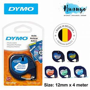 Dymo letratag label marker tape refill 12mm x 4m for Dymo label sizes