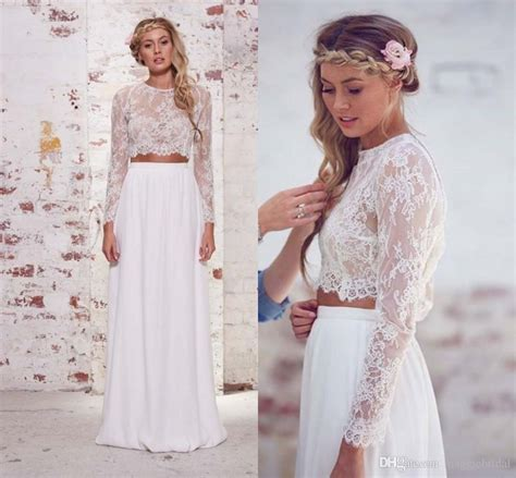 Discount Long Sleeve Two Pieces Wedding Dresses 2015 Women A Line Romantic Sheer Lace Summer