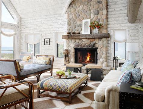 magical white cabin interior design   lake