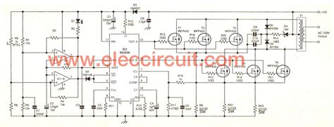 volt   volt inverter circuit  eleccircuitcom