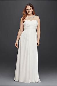 A line plus size wedding dress with beaded waist david39s for Plus size beaded wedding dresses