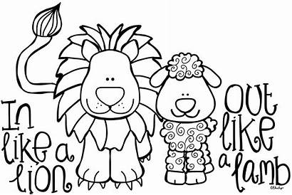 Lamb Lion March Clipart Coloring Clip Pages