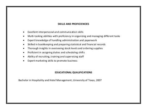 skills for hotel and restaurant management resume restaurant manager resume sle pdf