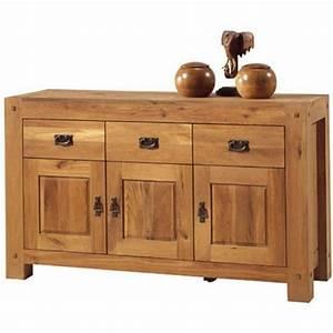 Buffet Bas Bois : bahut 3 portes 3 tiroirs lodge casita ~ Teatrodelosmanantiales.com Idées de Décoration