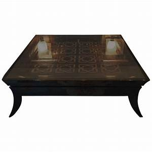 Large coffee table glass topped tiled modern at 1stdibs for Tall glass coffee table