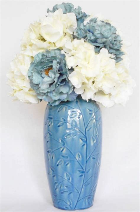 Teal Colored Vases by Artificial Flower Arrangement Teal Peonies White