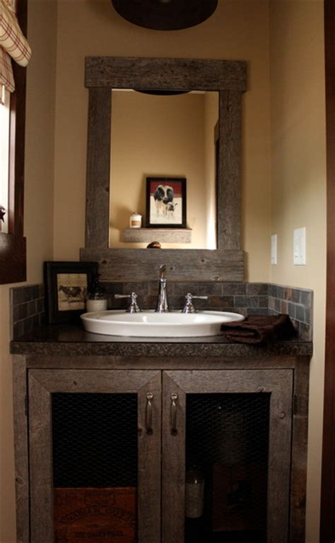 custom barnboard bathroom vanity