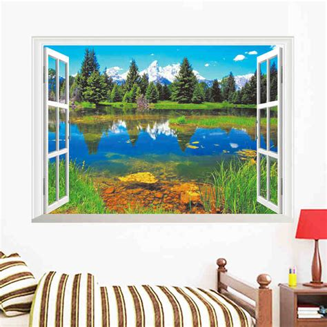 nature mountains lake forest trees house  scene window