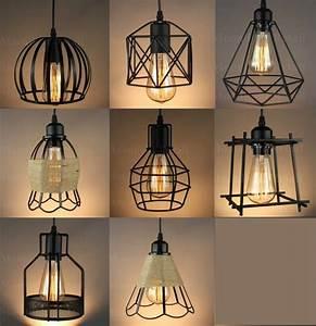 Vintage, Industrial, Metal, Cage, Black, Cafe, Loft, Bar, Pendant, Light, Lamp, Shade