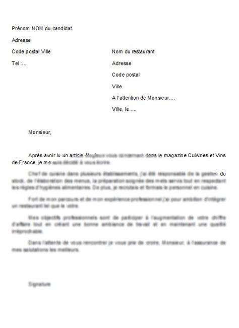 exemple lettre de motivation cuisine modèle de lettre lettre de motivation chef de cuisine