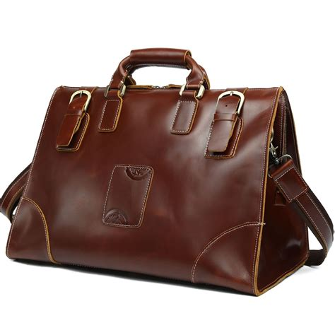 TIDING Men's Top Leather Luggage Suitcase Travel Duffle ...
