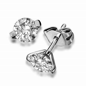 Unique Two Prong Round Diamond Stud Earrings | DHDOMERG21 ...