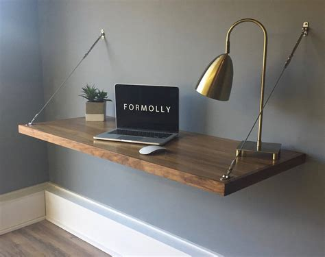 corner brackets floating desk wall mounted desk walnut
