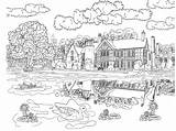 Coloring Adults Scenery Pages Scene Pond sketch template