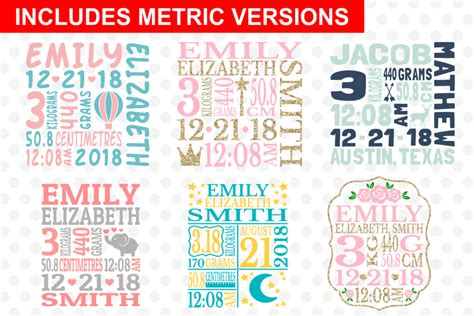 Free and premium cut files svg, eps, png and dxf files for personal cutting projects with your cricut, silhouette, and other machines. Baby Birth Announcement Bundle #1, svg Cut Files ...